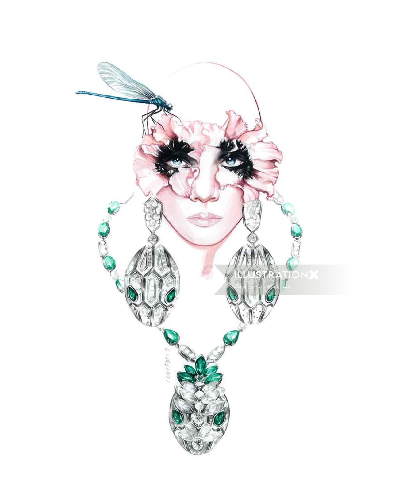 Fashion jewellery with green stones