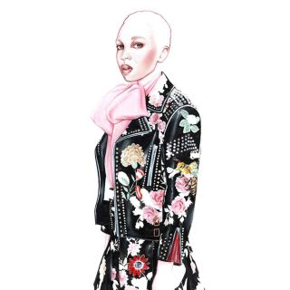 illustration of a model in Gucci dress