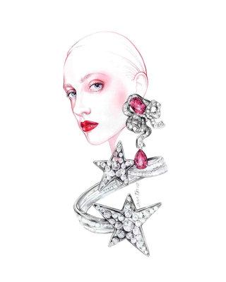 Woman with diamond earrings jewellery illustration