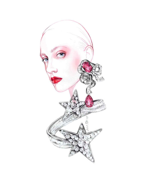 Woman with diamond earrings jewellery illustration