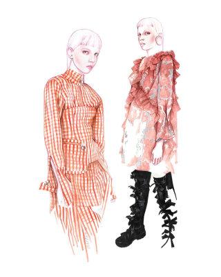 fashion artwork of models with Marques'Almeida clothing