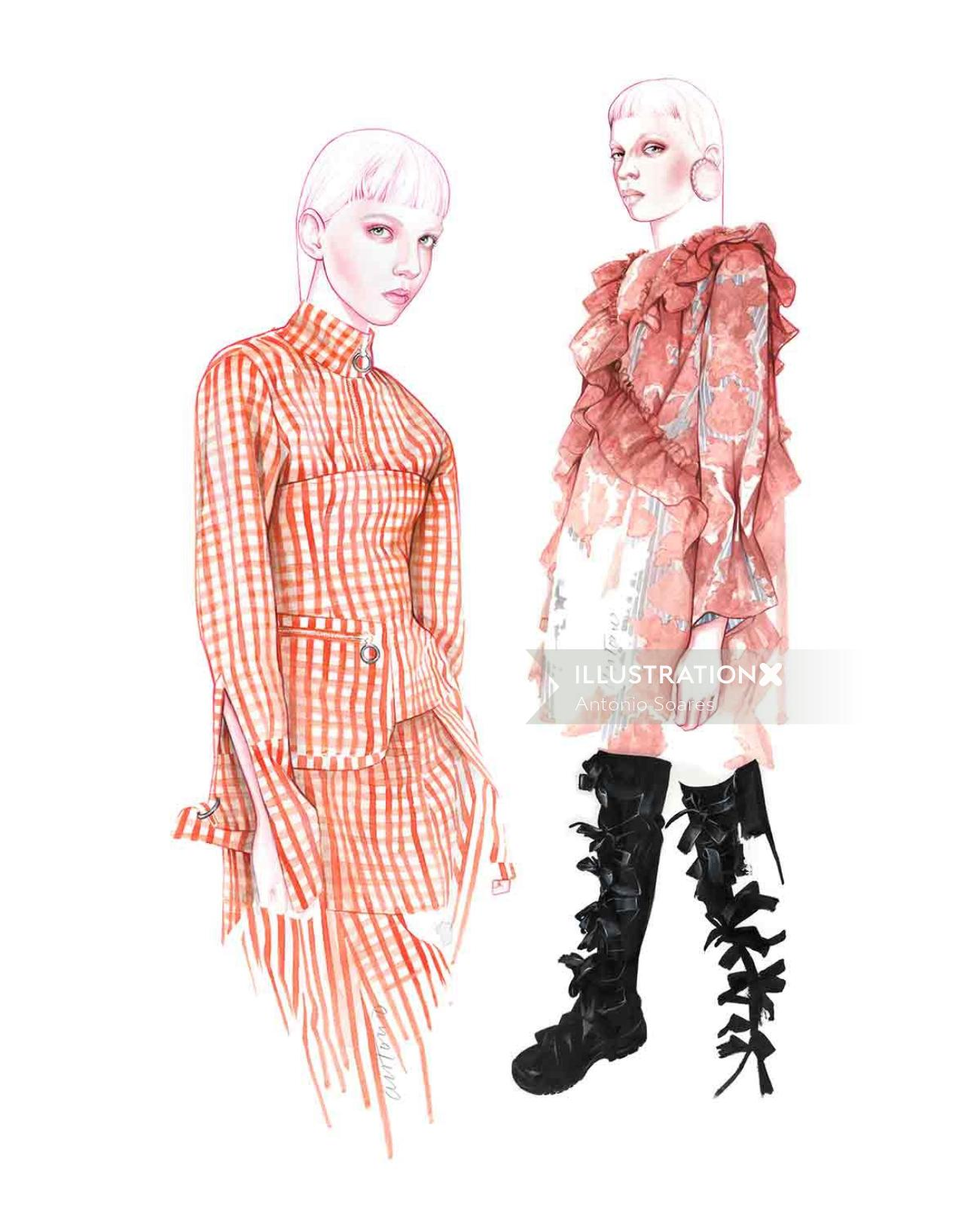 fashion artwork of models with Marques'Almeida clothing