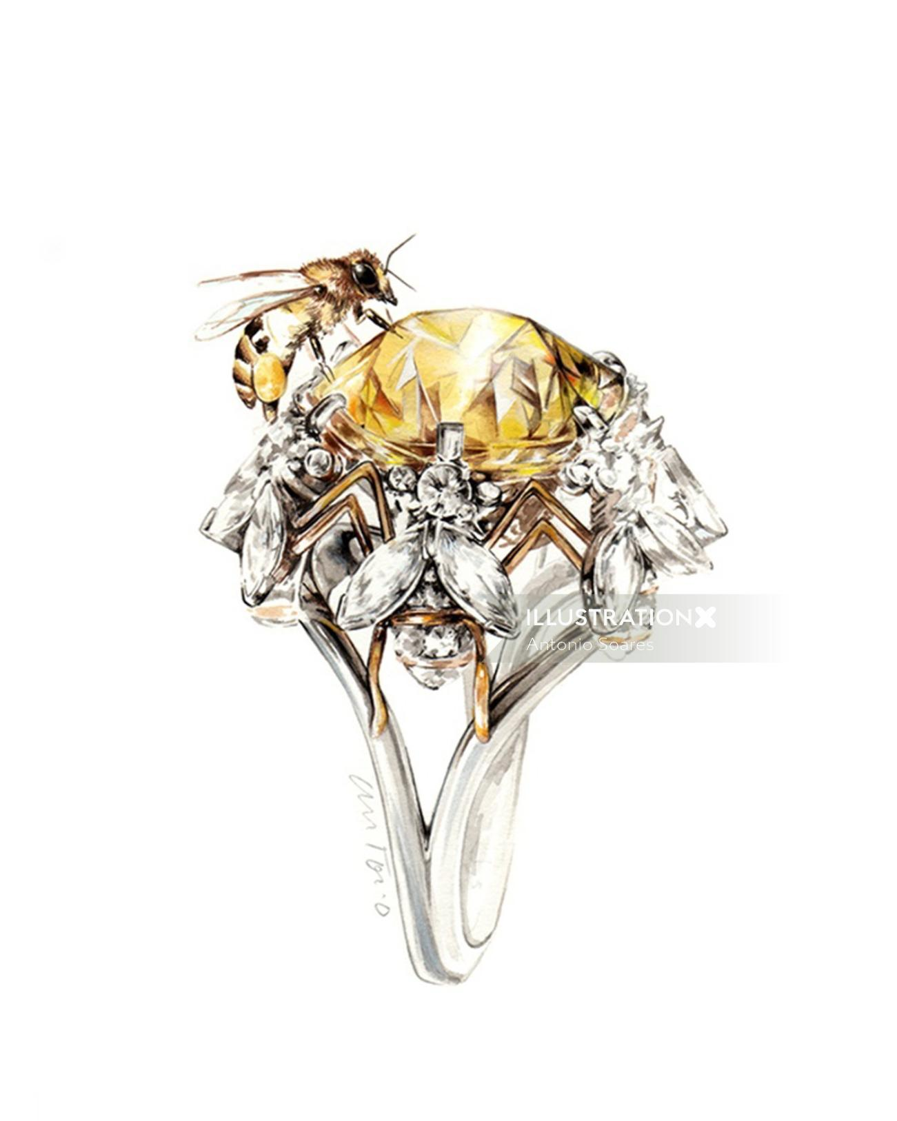 illustration of a beautiful diamond ring and honey bee on it, Inspired from Jean Schlumberger works