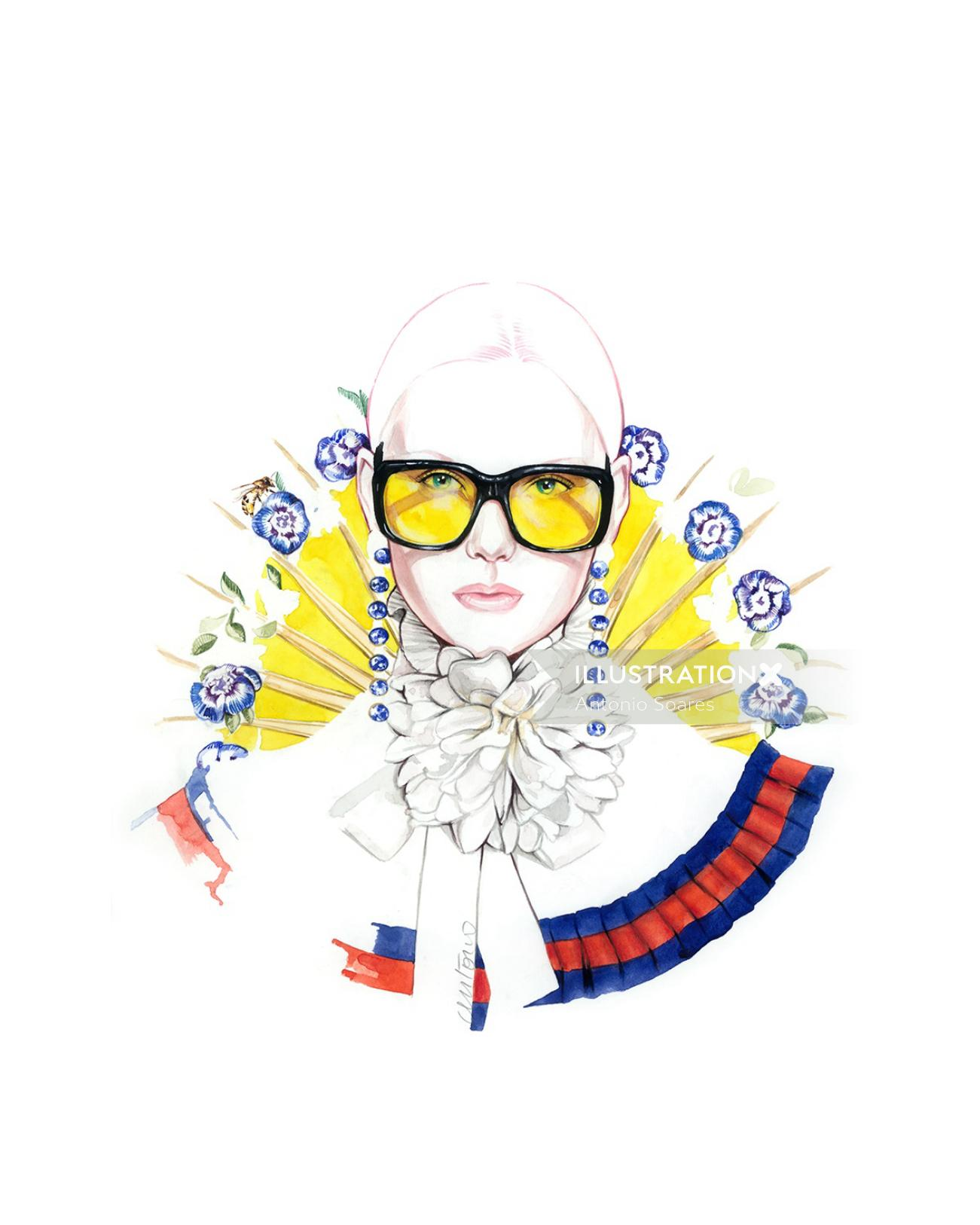 Woman Fashion Illustration For Gucci