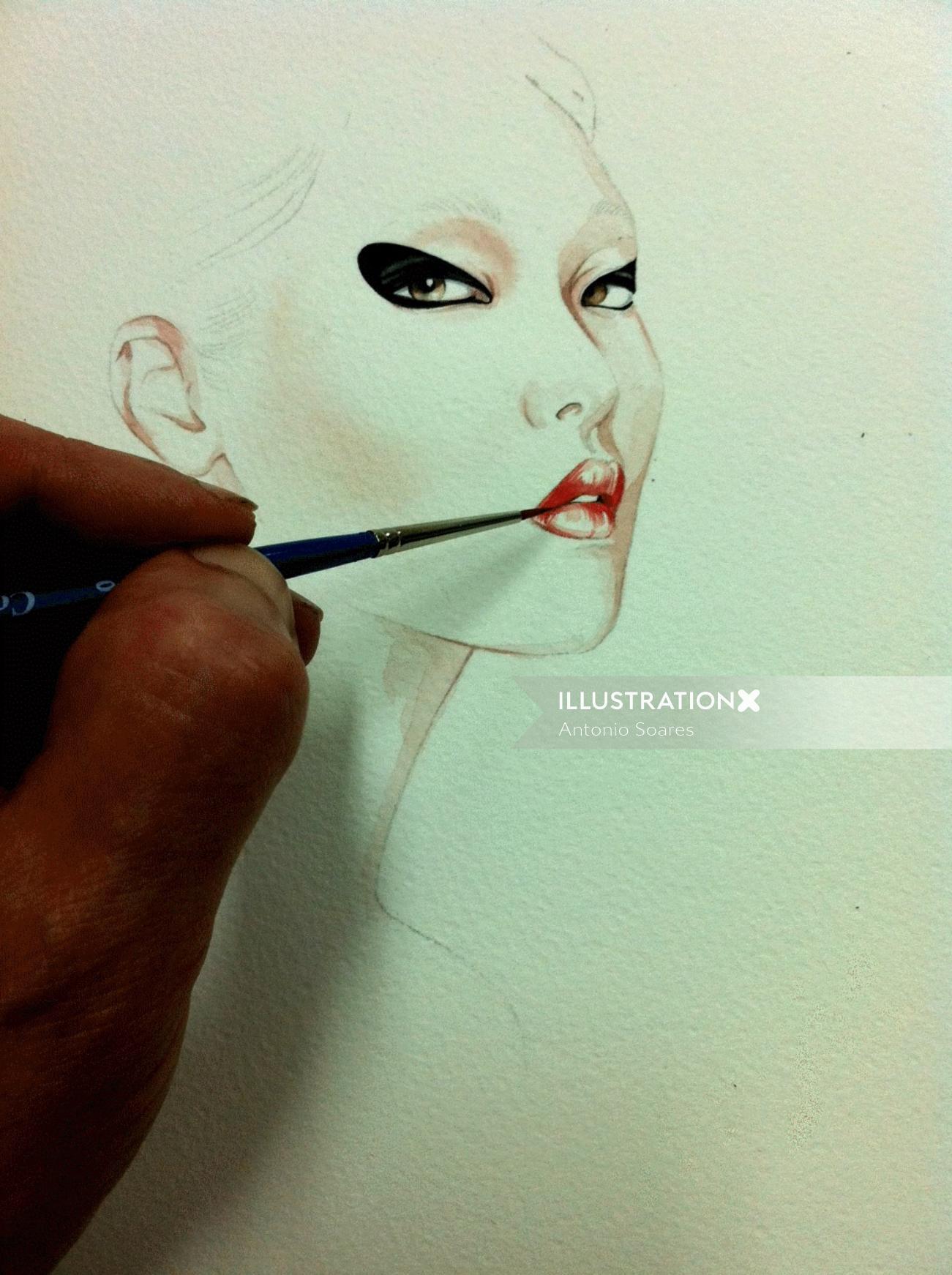 Watercolour graphic Work in progress