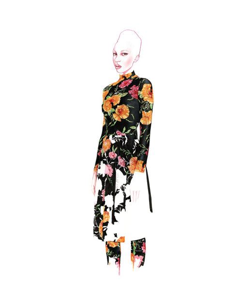 Watercolour Fashion Illustration For Balenciaga