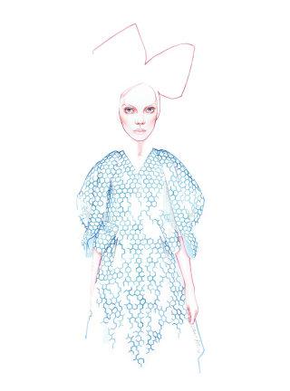 Watercolour line art of a woman