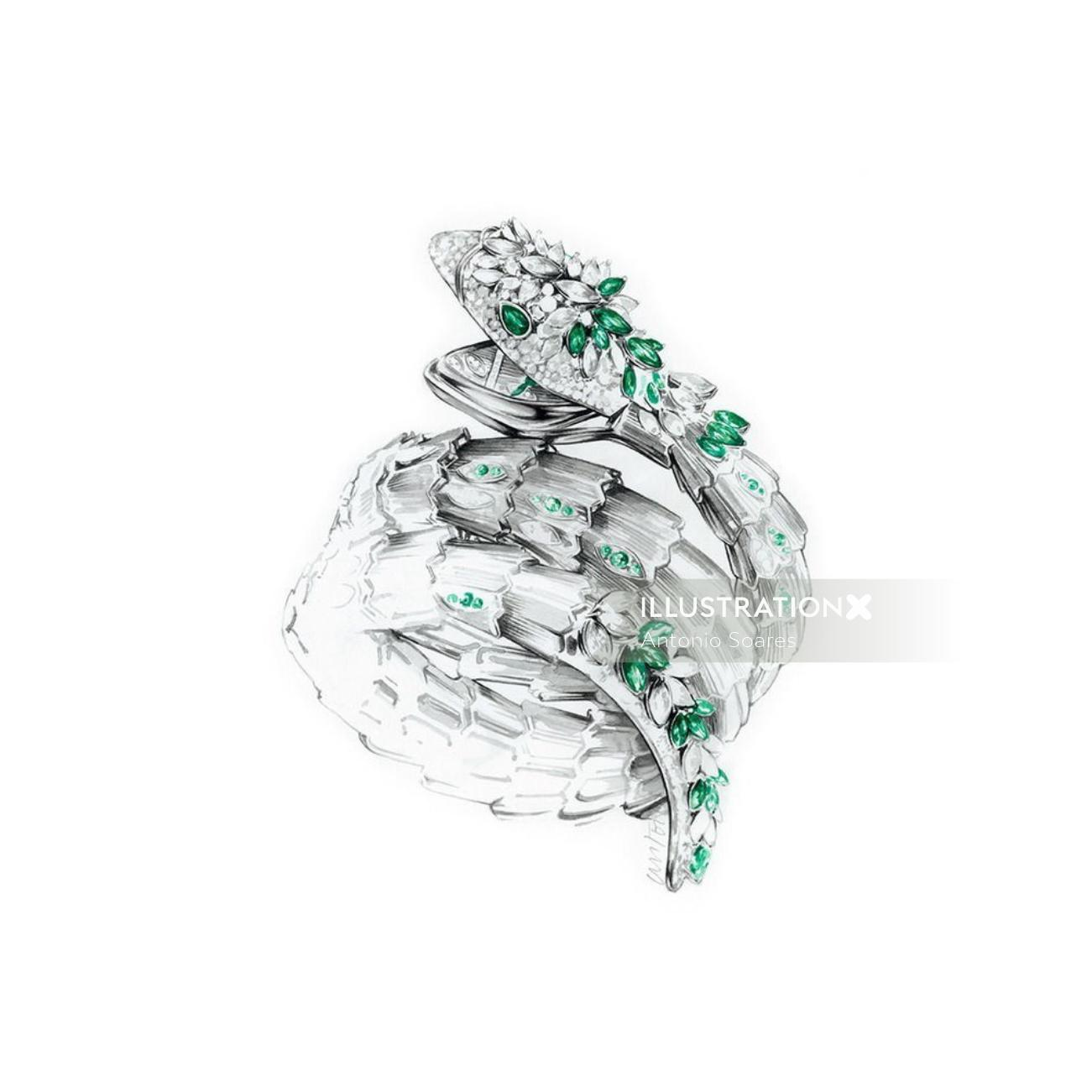 Jewellery illustration of snake ring with stones