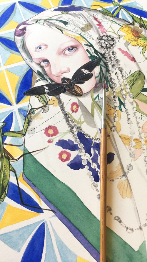 Watercolor Beauty Illustration For Gucci