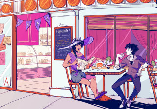 Illustration of couple in a food court
