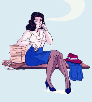 Illustration of a cartoon lady