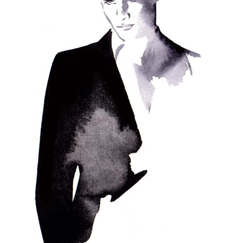Live even t drawing of man in suit