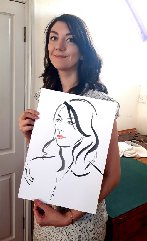 Live event drawing of smily woman