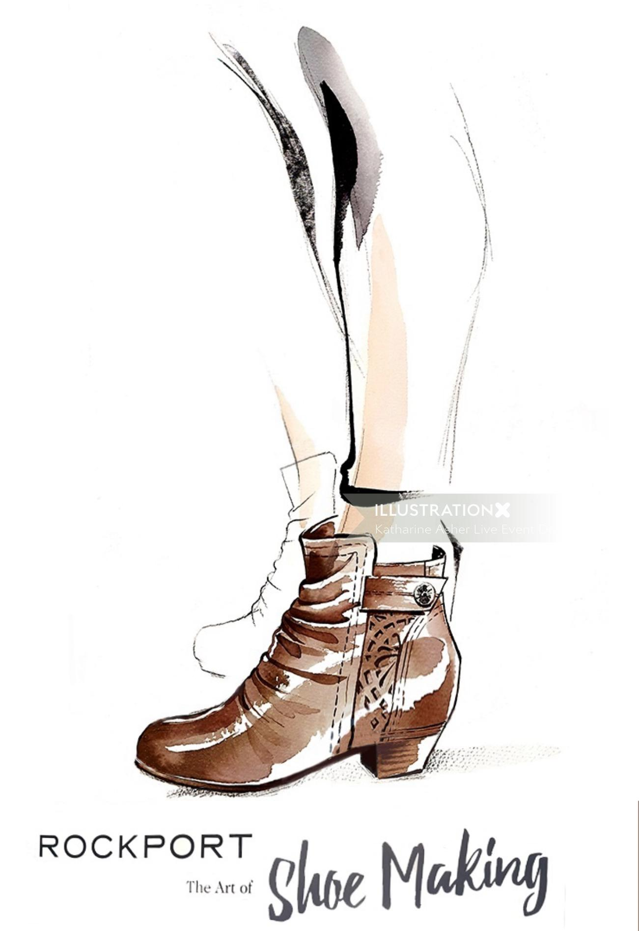 rockport shoes promotion drawing by Katharine Asher