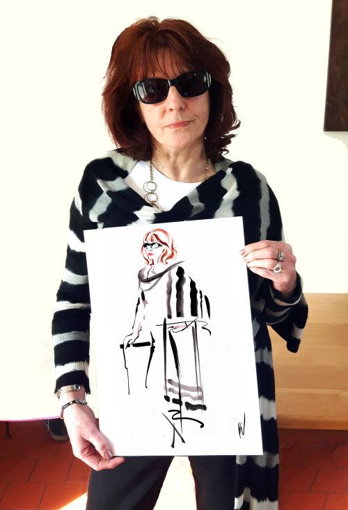 Woman fashion with live art