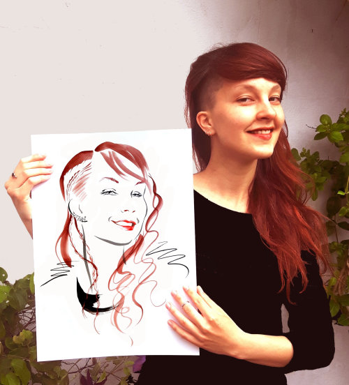 Beauty showing her drawing