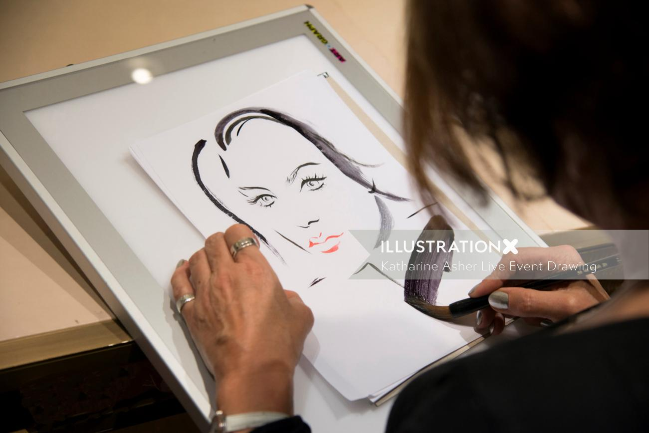 Live event drawing of beauty