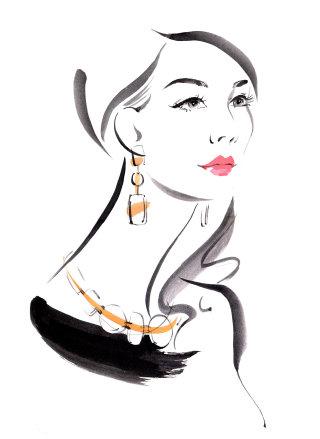 Lady wearing necklace & earrings - fashion sketch