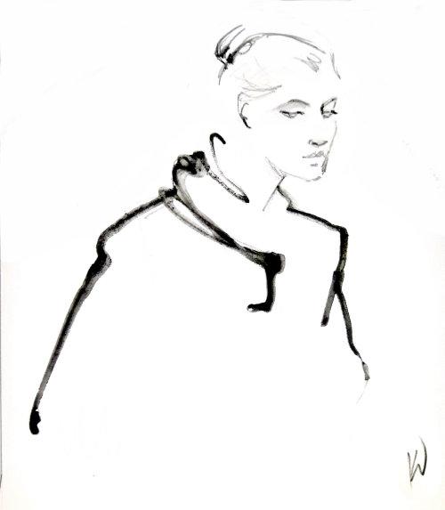 Line drawing woman model