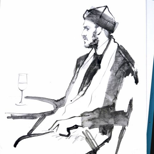 Live event drawing man with wine
