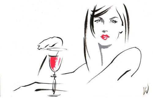 Line drawing of beauty with wine