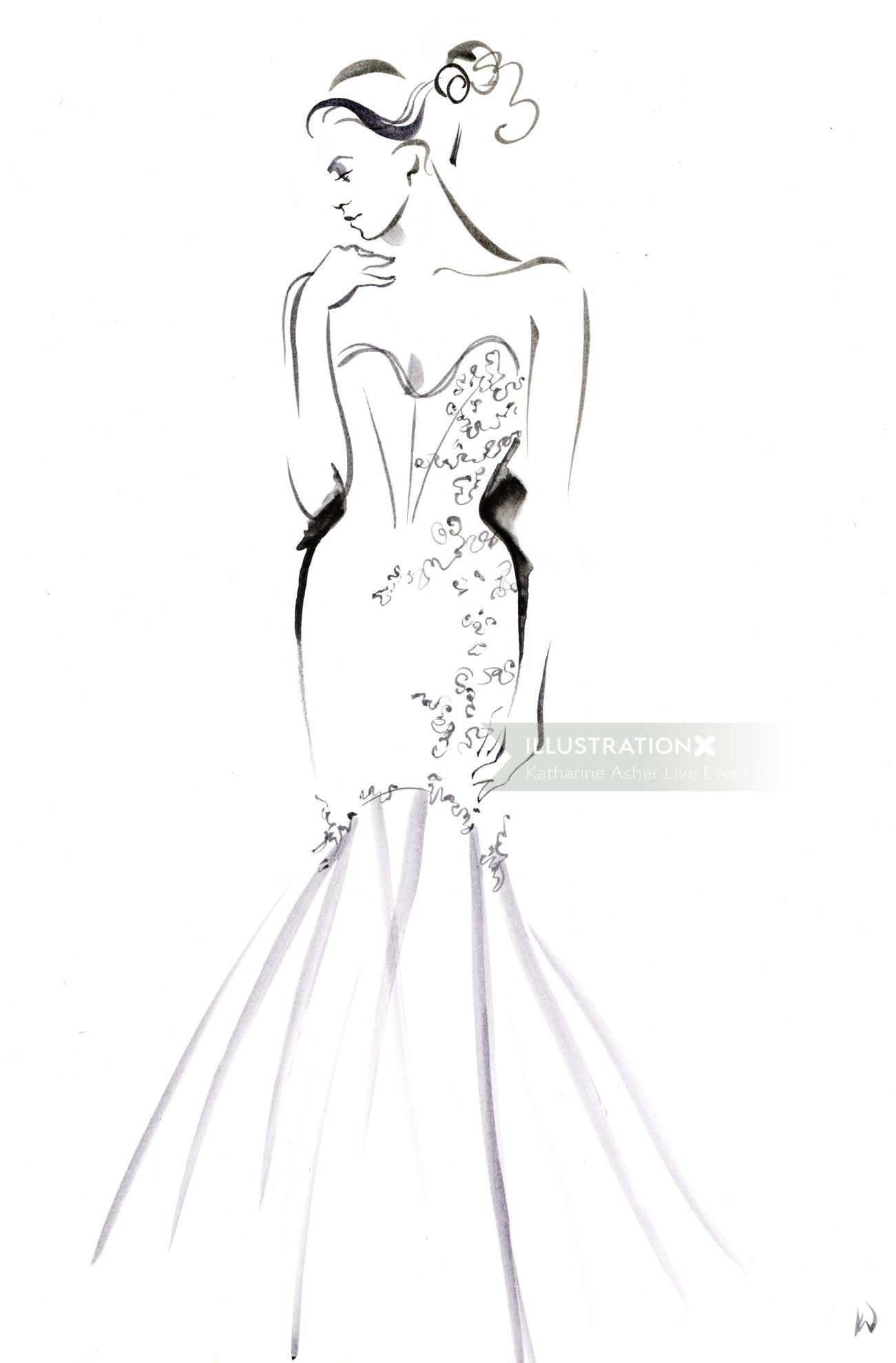 Line art of fashion model