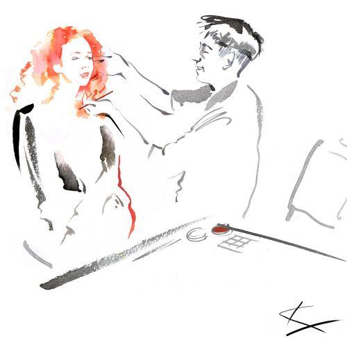 An illustration of woman applying makeup