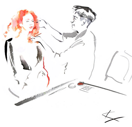 An illustration of woman applying makeup