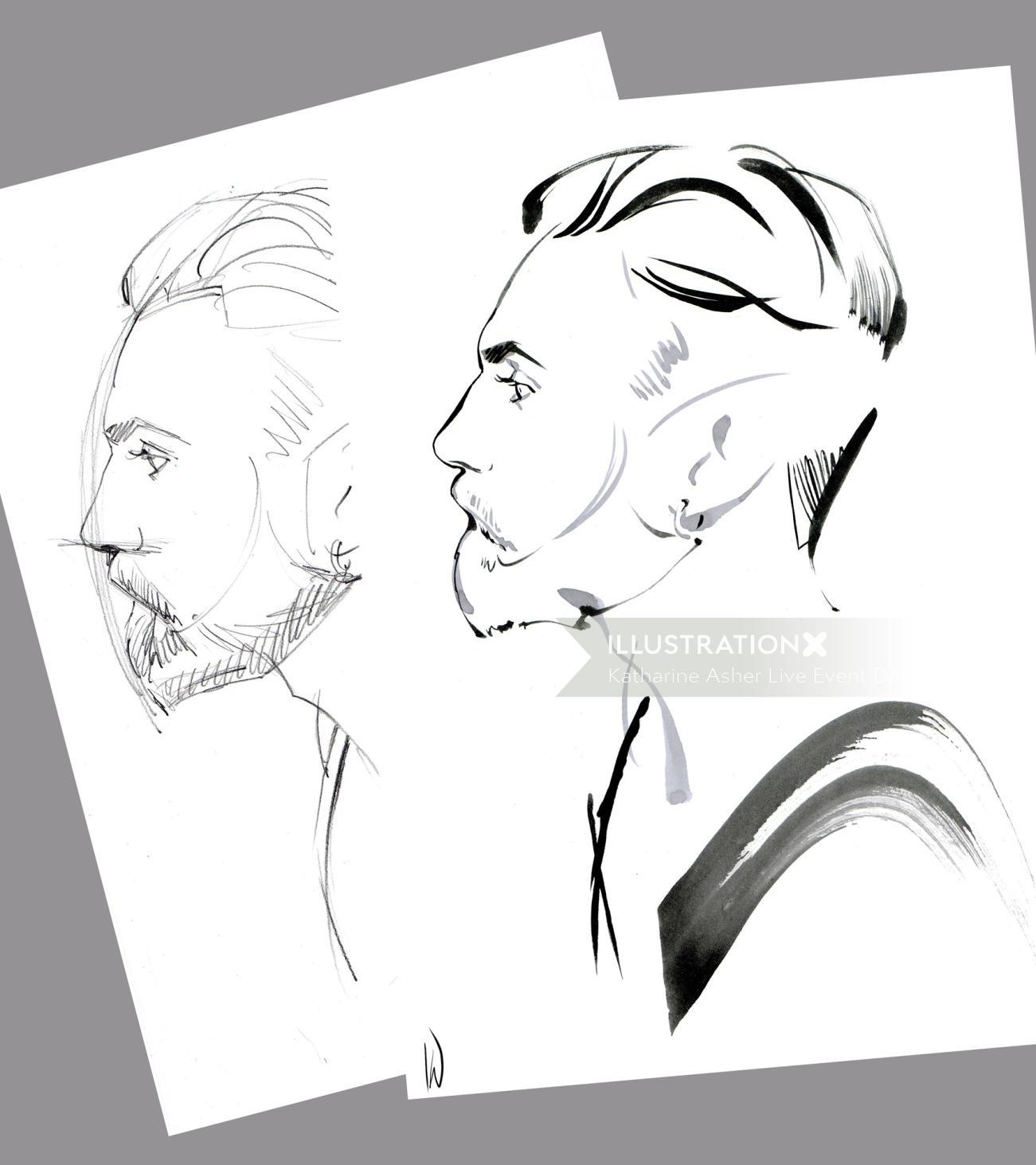 Line art of a bearded man