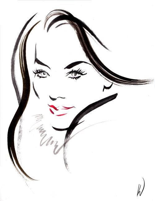 Line art of a beautiful lady