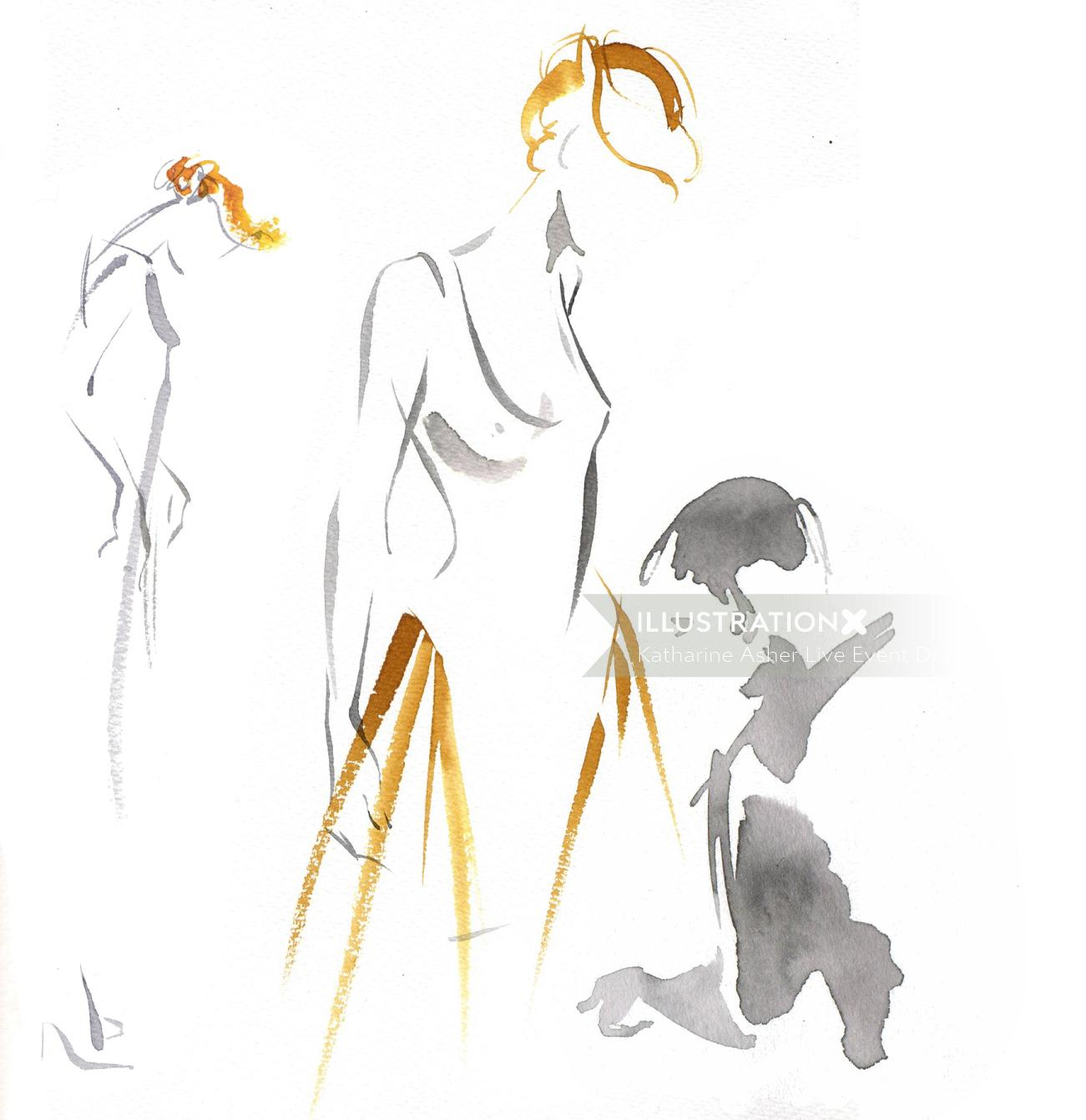 Illustration of Behind the Catwalk - Mishy May 'Pastel Bridal' couture