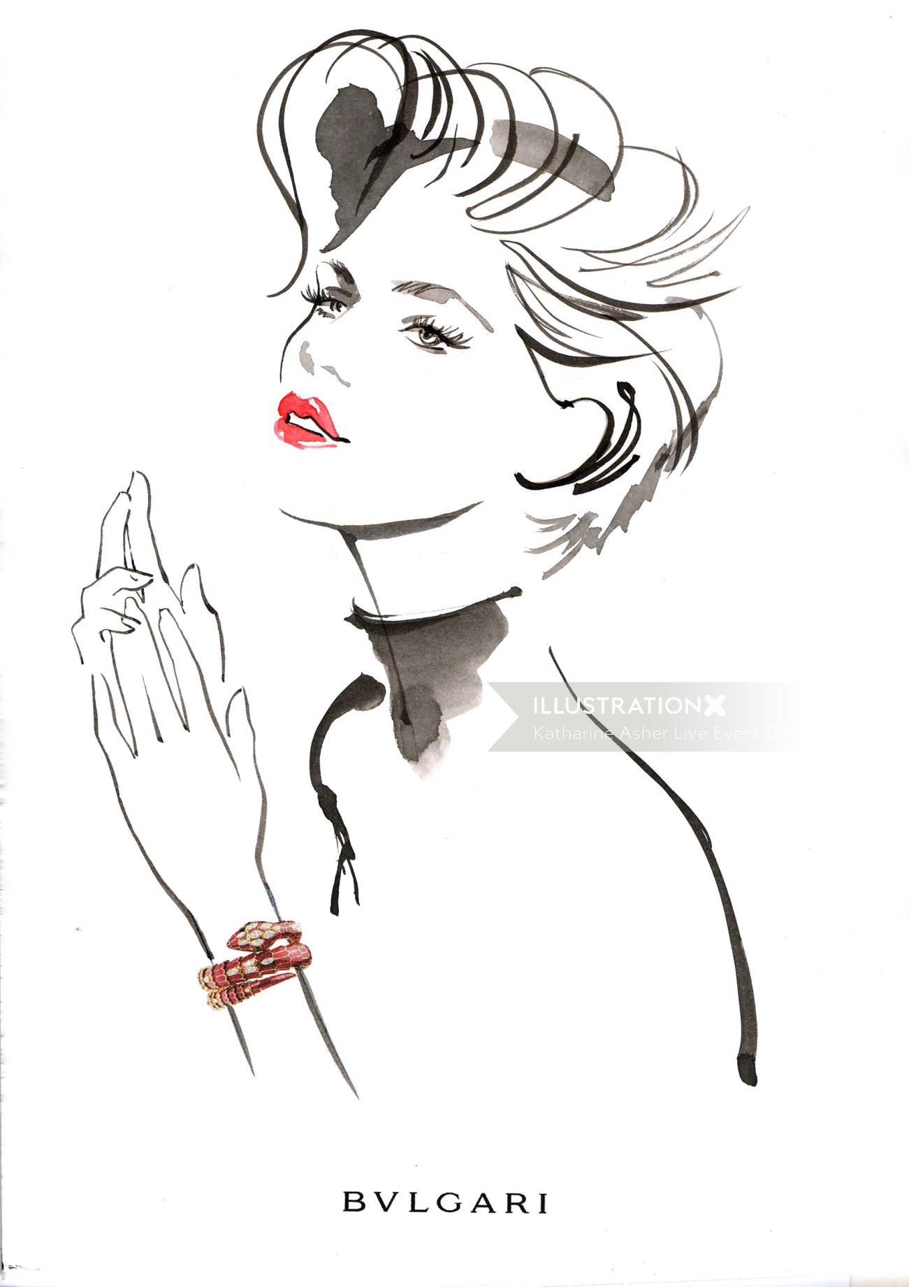 short hair cut fashion girl made in ink and brush