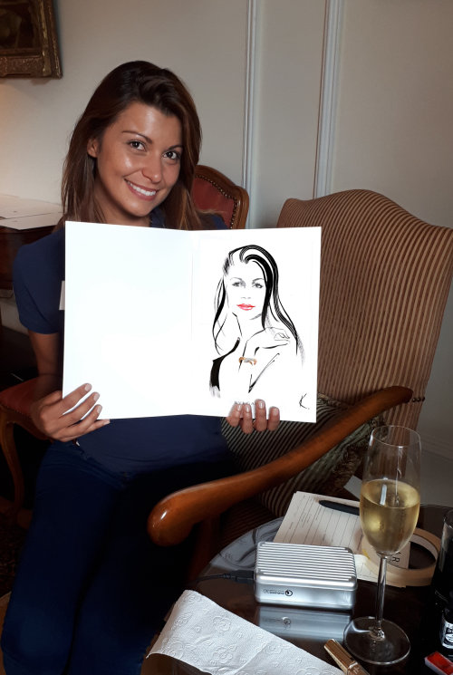 Live event drawing of woman in St Moritz