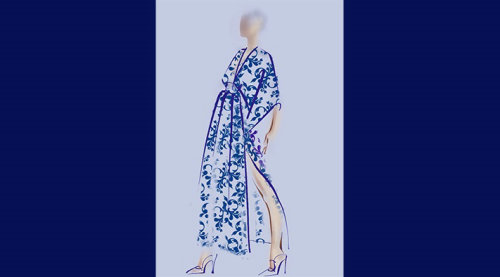 Kimono Bristol dress live event drawing