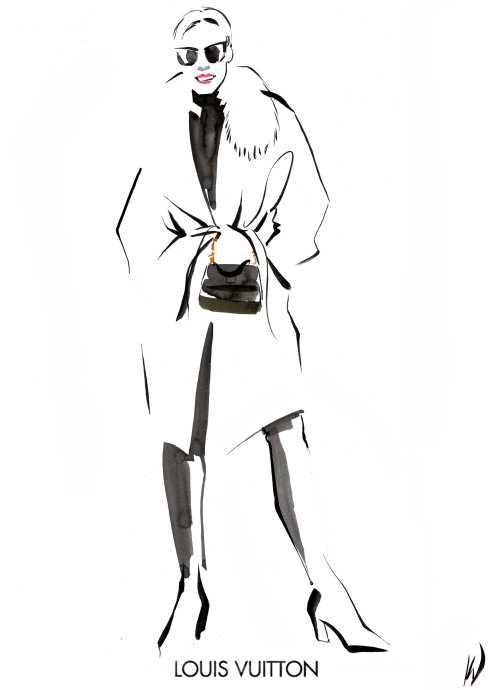 Live drawing of female model at Louis Vuitton in Leeds