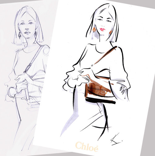 woman holding bag drawing in live event