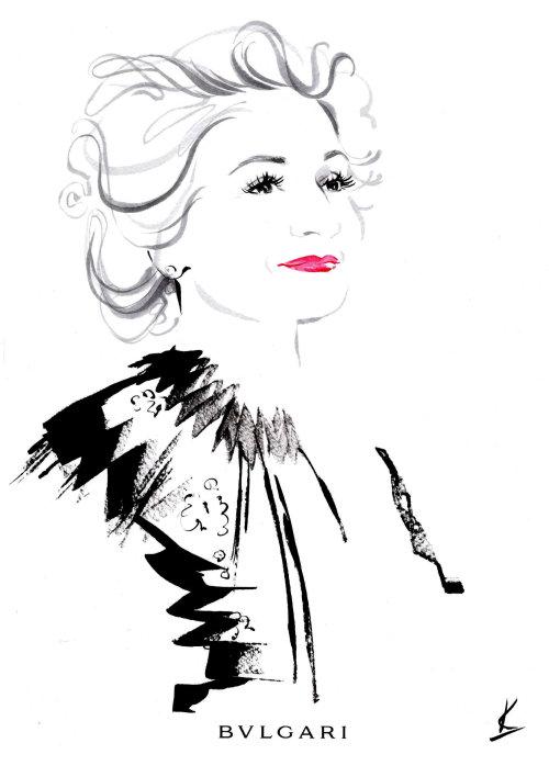 Line art portrait of beautiful woman - GREYNAISSANCE senior elegance