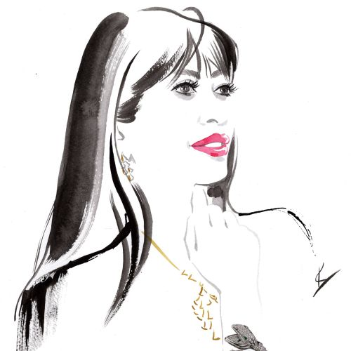 Fashion portrait of woman with ink strokes