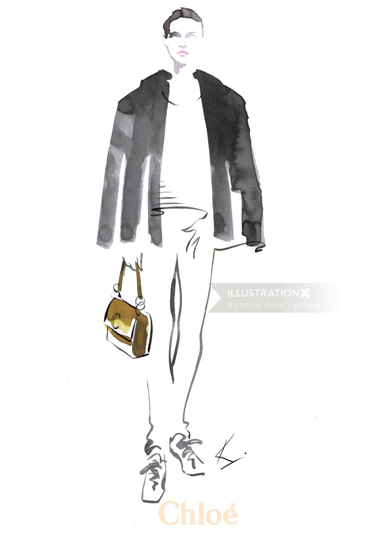 illustration of Chloe C-Bags@Selfridges for men