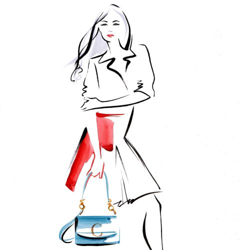 woman carrying Chloe C-Bags illustration with brushstroke