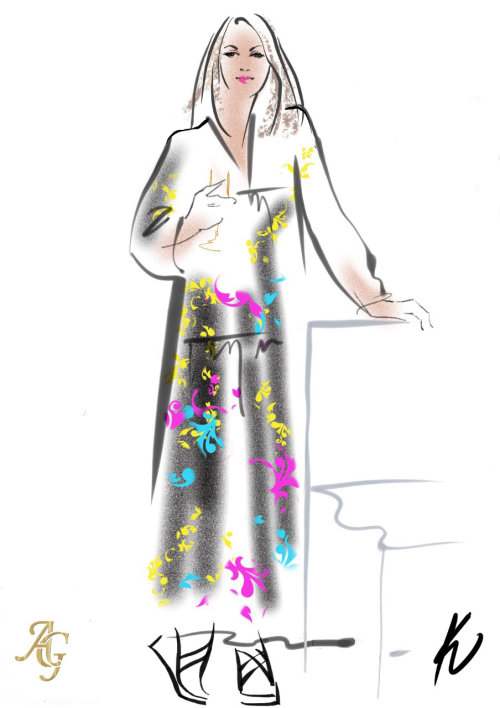 Digital sketch of guest at society wedding at Clivedon House