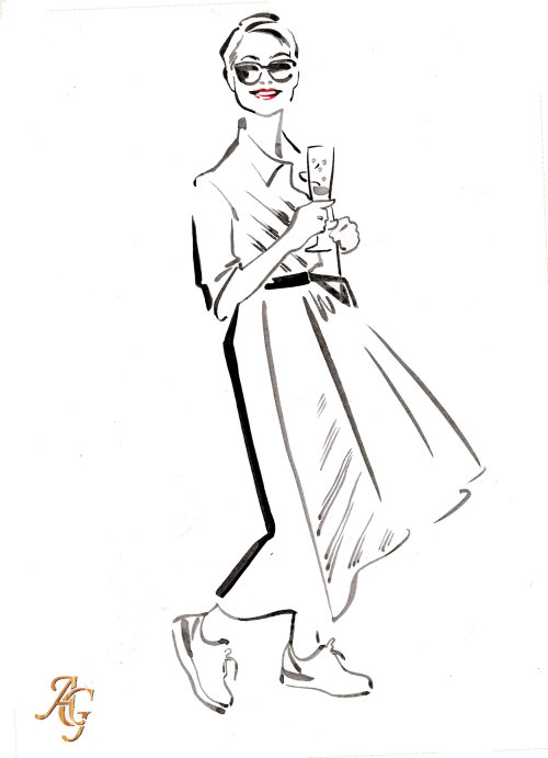 Hand drawn sketch of guest at society wedding at Clivedon House