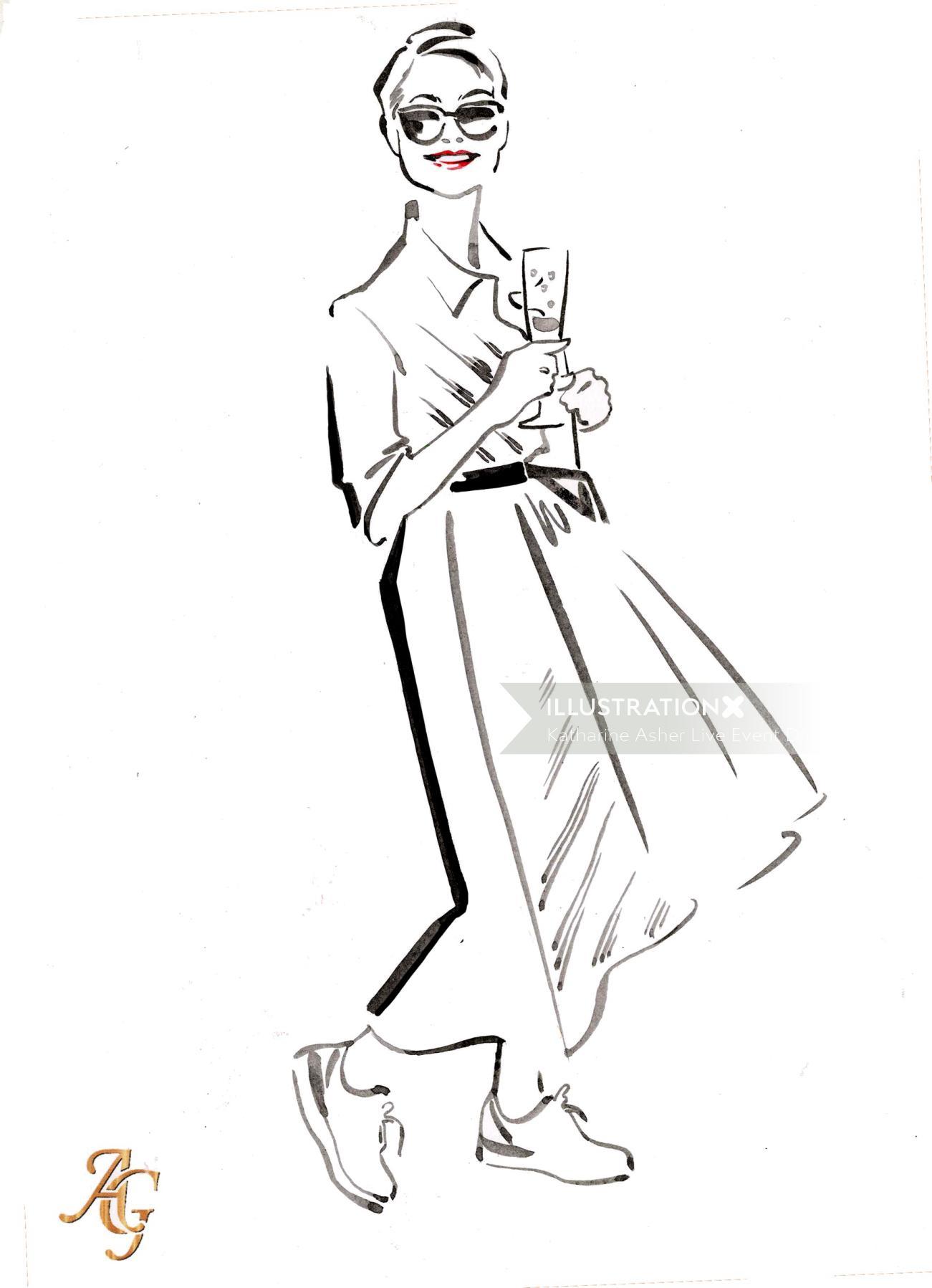 Hand drawn sketch of guest at society wedding at Clivedon House