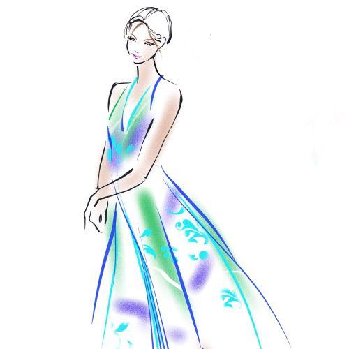 Digital fashion sketch of young girl