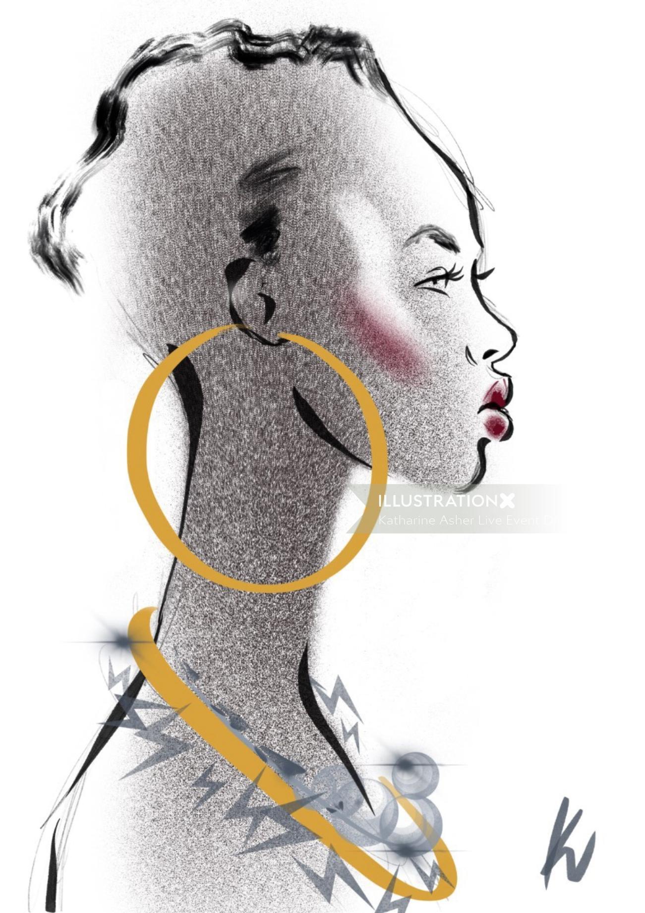 wedding Beauty potrait, live event drawing