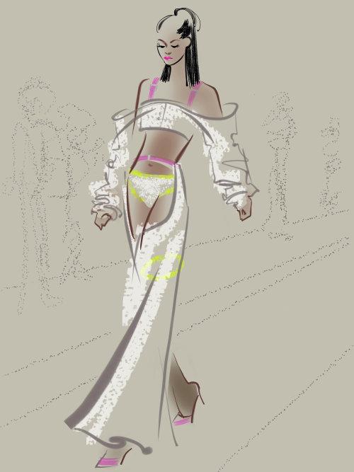 Line illustration of fashion girl