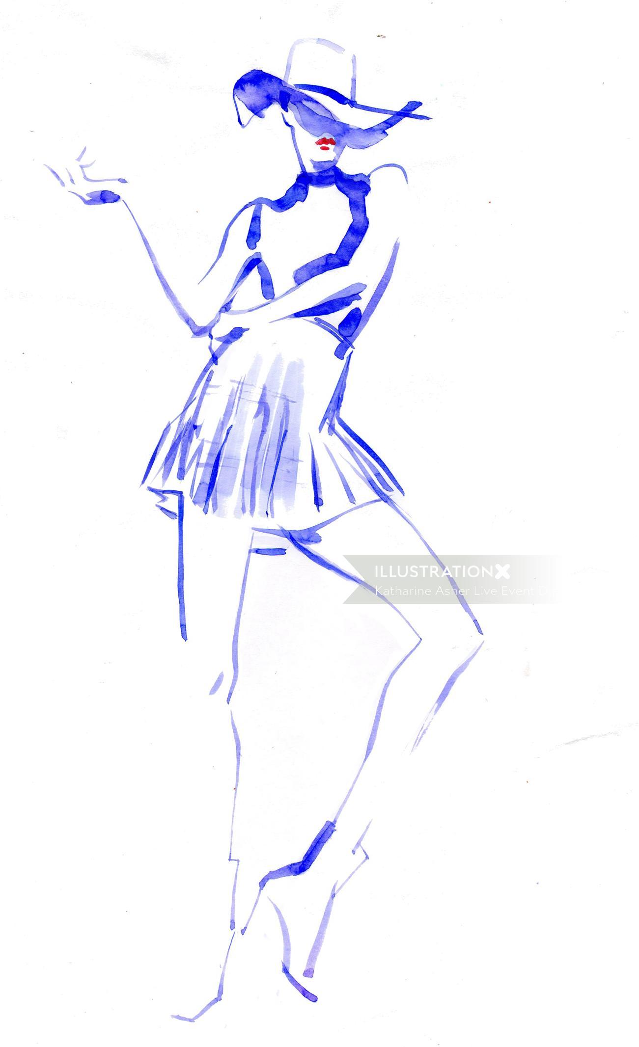 Vogue blue live drawing of model