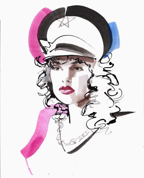 Dibujo de evento en vivo de retrato de mujer