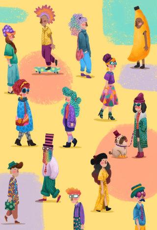 Comic book illustration of people