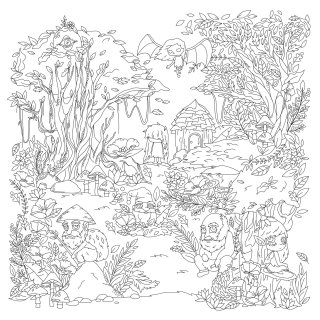 Line drawing for Ang INKredible Coloring Book